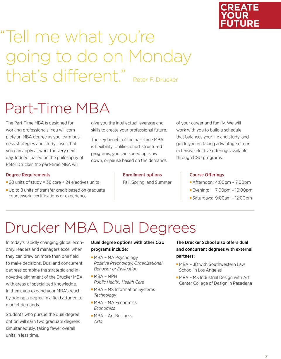 Indeed, based on the philosophy of Peter Drucker, the part-time MBA will give you the intellectual leverage and skills to create your professional future.