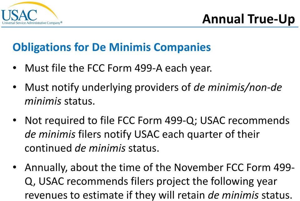 Not required to file FCC Form 499-Q; USAC recommends de minimis filers notify USAC each quarter of their continued