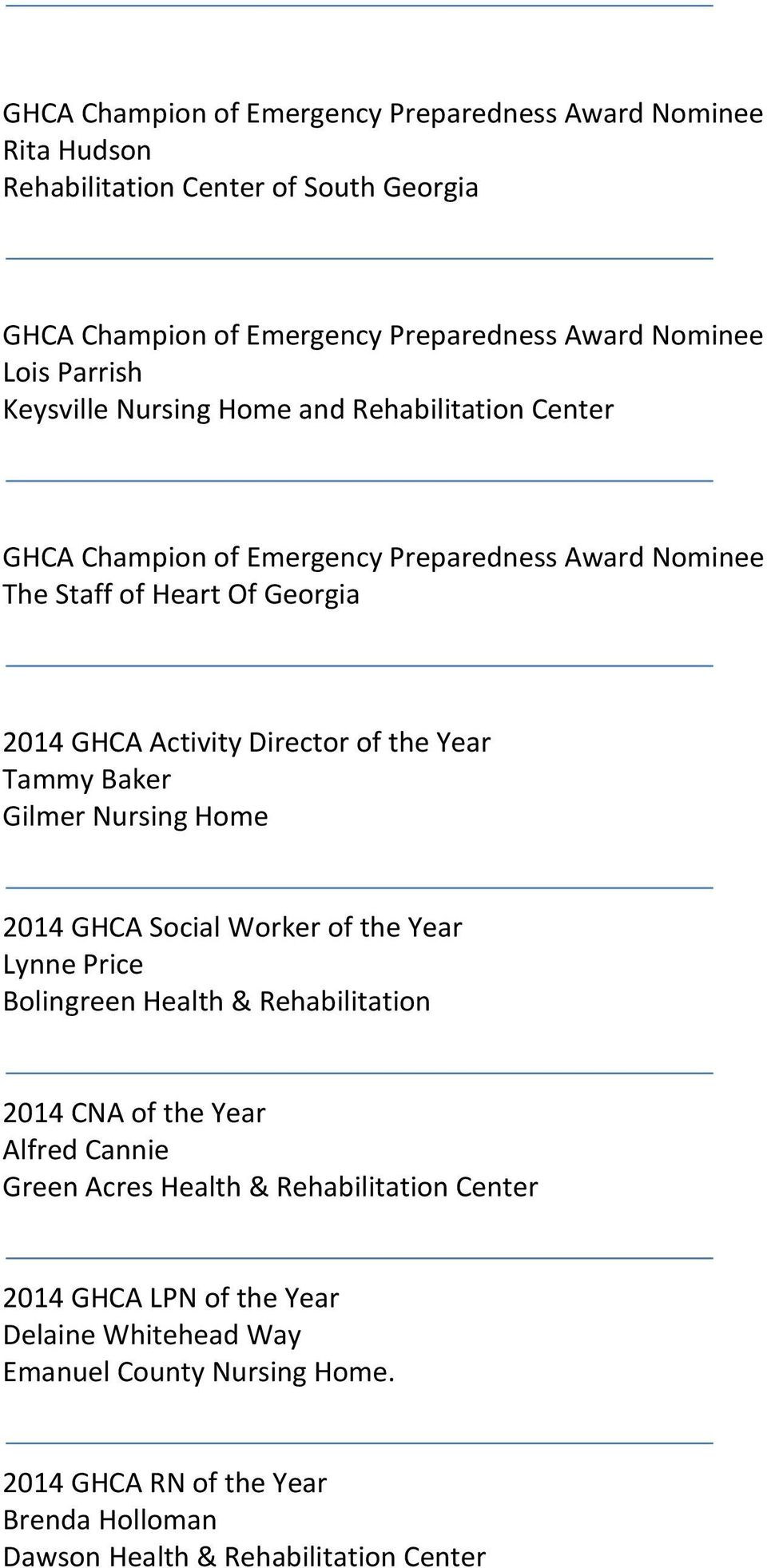Ghca Champion Of Emergency Preparedness Award Nominee Rita Hudson Rehabilitation Center Of South