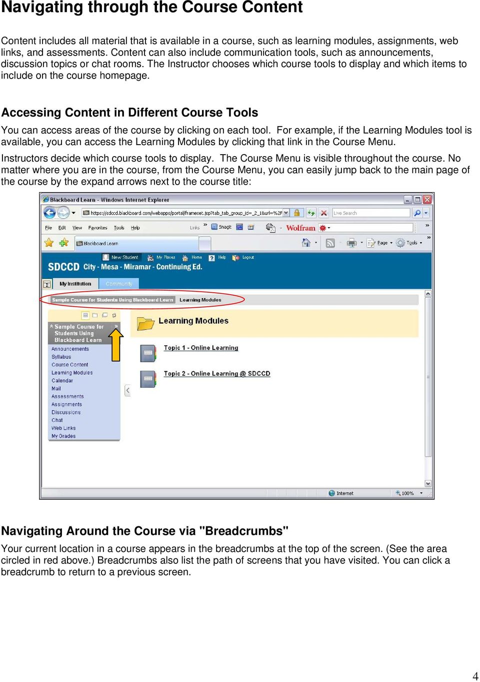 The Instructor chooses which course tools to display and which items to include on the course homepage.