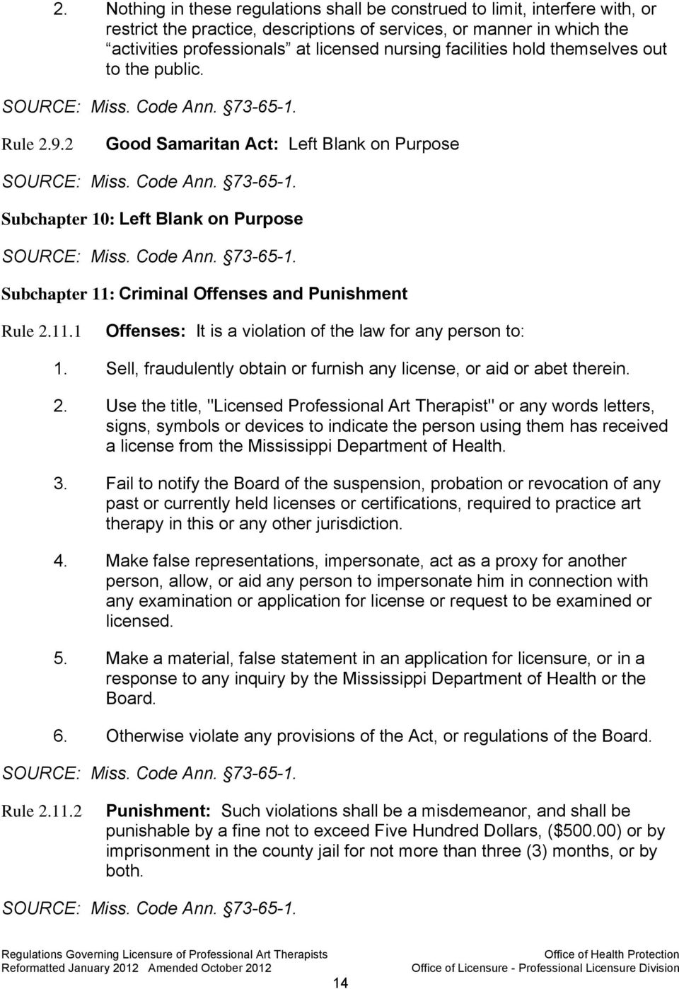 Criminal Offenses and Punishment Rule 2.