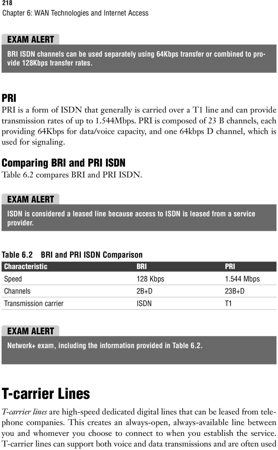 PRI is composed of 23 B channels, each providing 64Kbps for data/voice capacity, and one 64kbps D channel, which is used for signaling. Comparing BRI and PRI ISDN Table 6.2 compares BRI and PRI ISDN.