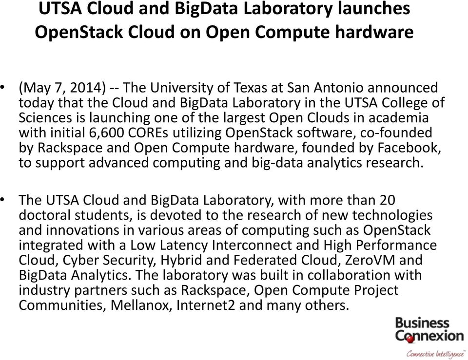 by Facebook, to support advanced computing and big-data analytics research.
