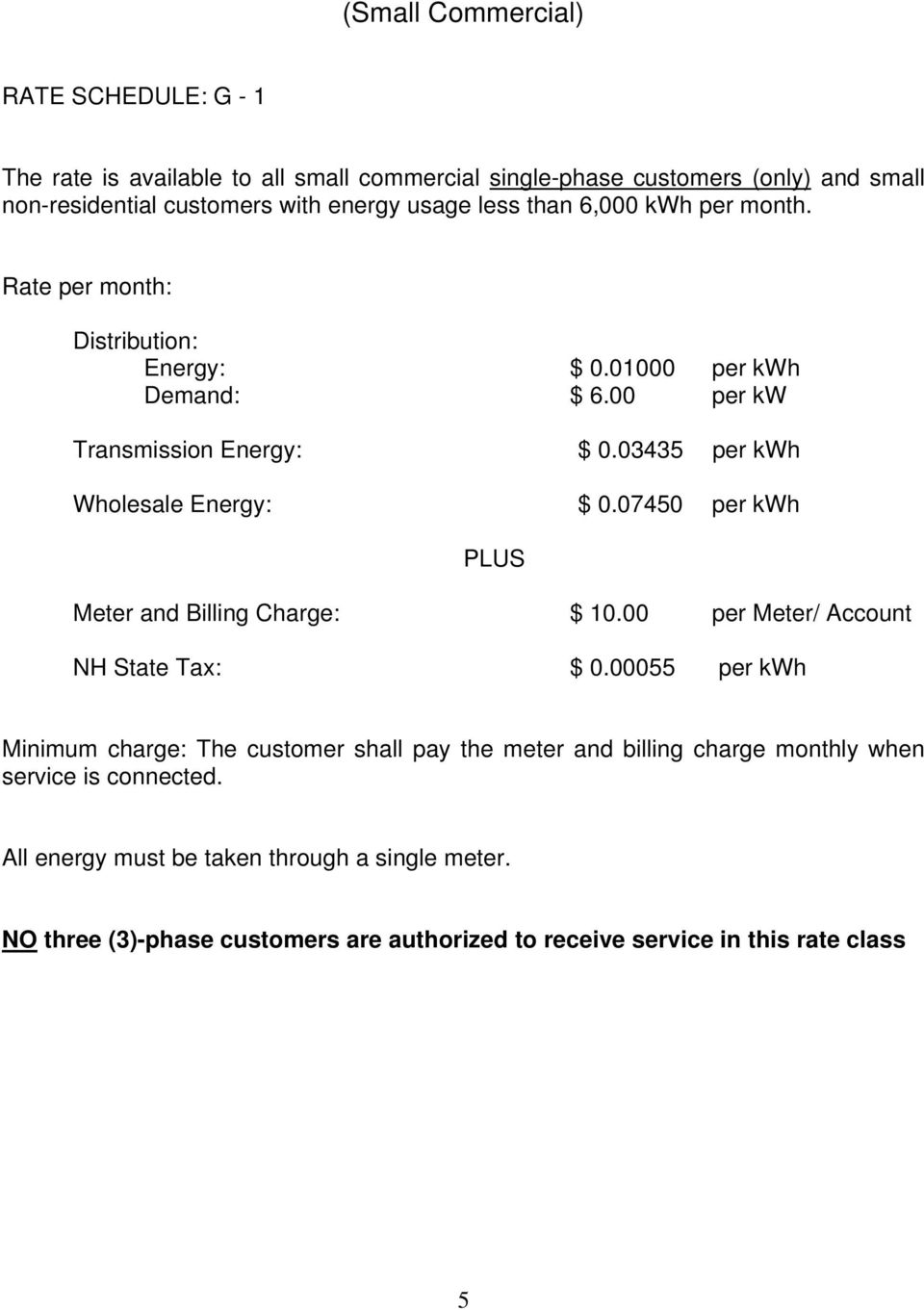 00 per kw Transmission Energy: $ 0.03435 per kwh Wholesale Energy: $ 0.07450 per kwh Meter and Billing Charge: $ 10.