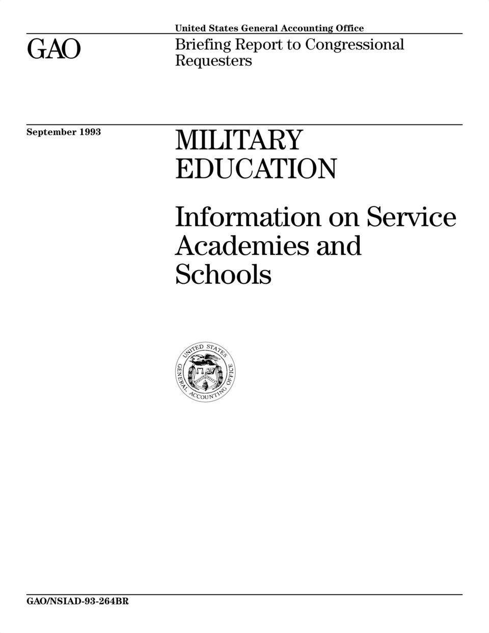 September 1993 MILITARY EDUCATION Information