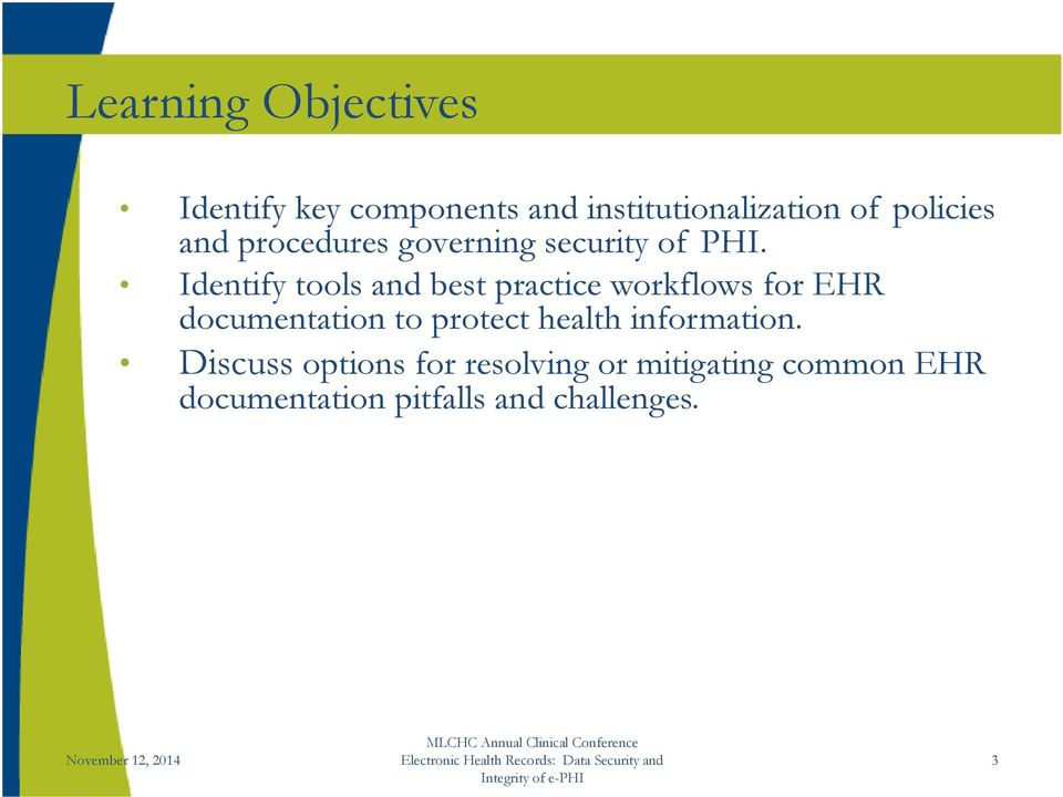 Identify tools and best practice workflows for EHR documentation to protect
