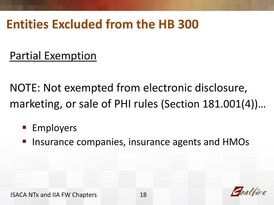 marketing, or sale of PHI rules (Section 181.