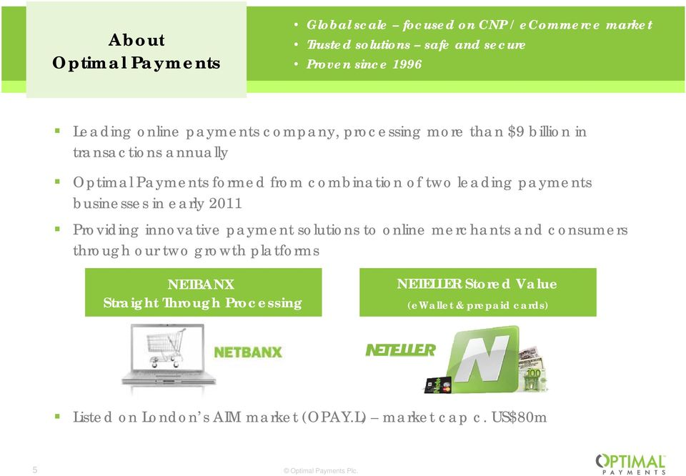 gpayments businesses in early 2011 Providing innovative payment solutions to online merchants and consumers through our two growth