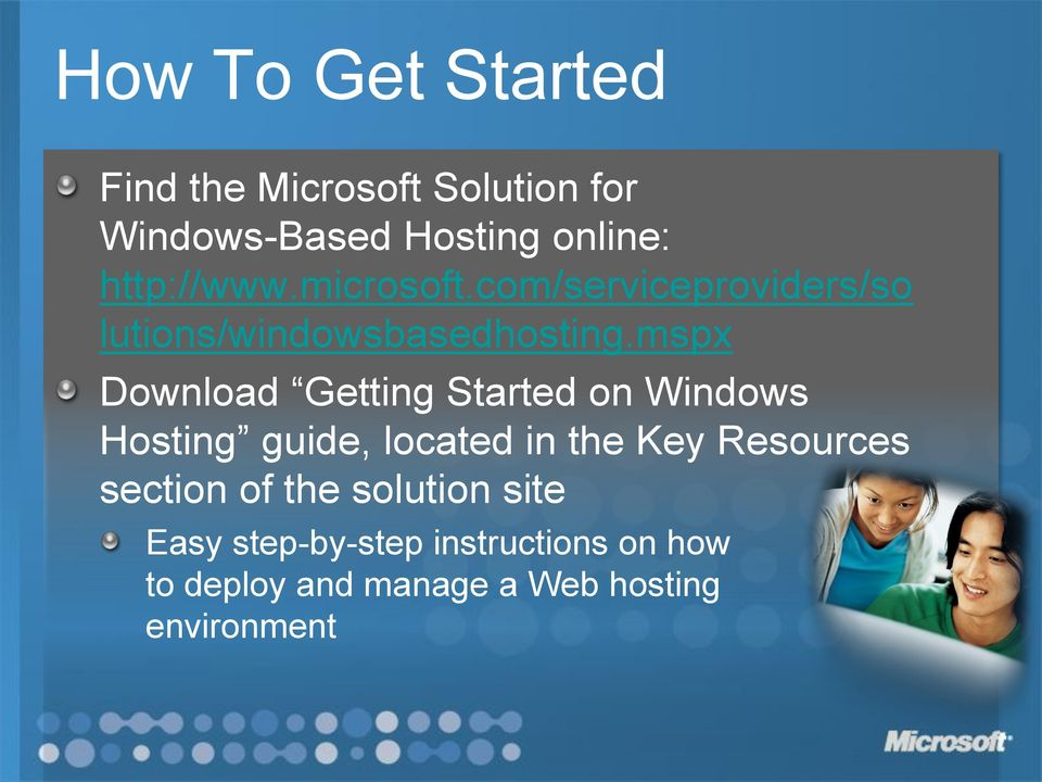 mspx Download Getting Started on Windows Hosting guide, located in the Key Resources
