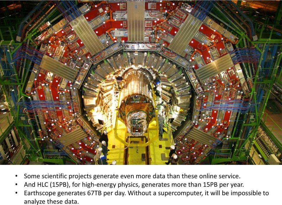 And HLC (15PB), for high-energy physics, generates more than 15PB per