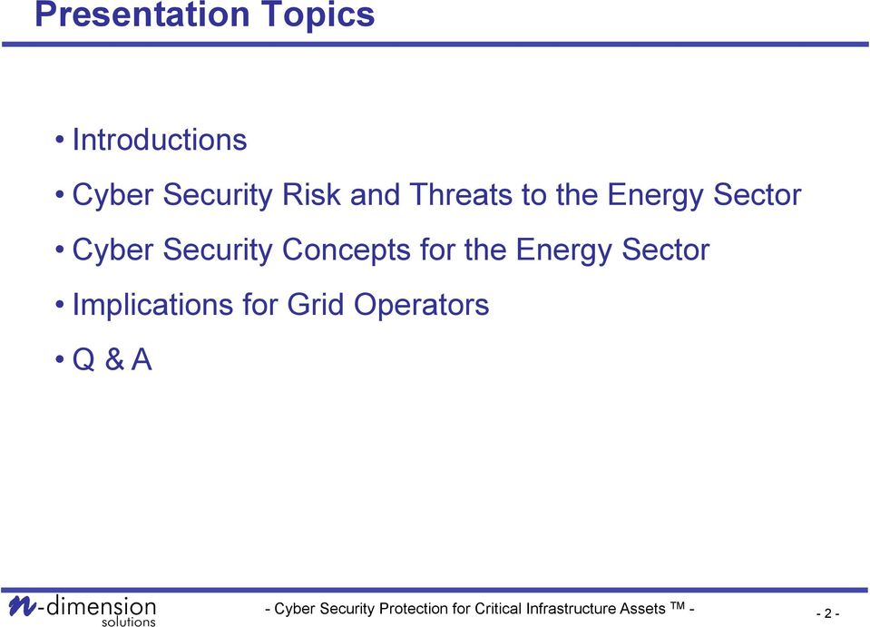 Sector Cyber Security Concepts for the