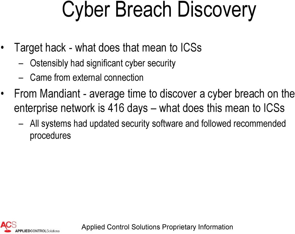 time to discover a cyber breach on the enterprise network is 416 days what does