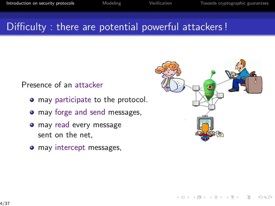 attackers! Presence of an attacker may participate to the protocol.