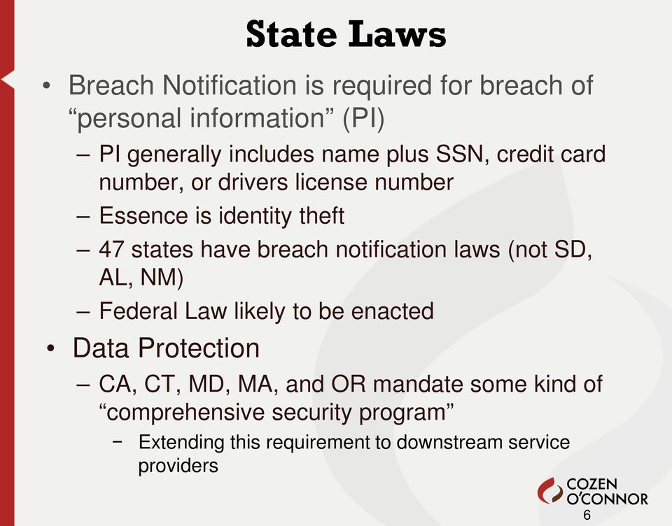 notification laws (not SD, AL, NM) Federal Law likely to be enacted Data Protection CA, CT, MD, MA, and OR