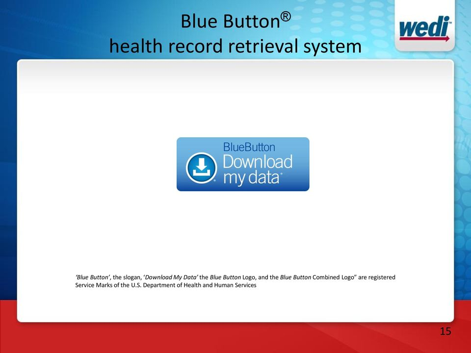 the Blue Button Combined Logo are registered Service