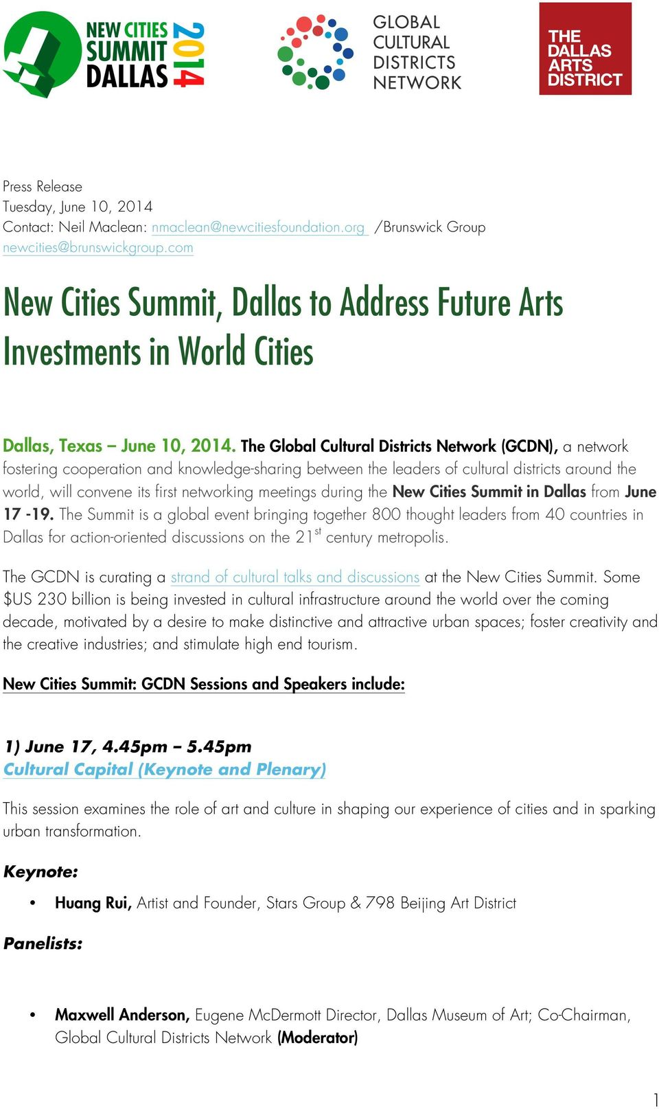 The Global Cultural Districts Network (GCDN), a network fostering cooperation and knowledge-sharing between the leaders of cultural districts around the world, will convene its first networking