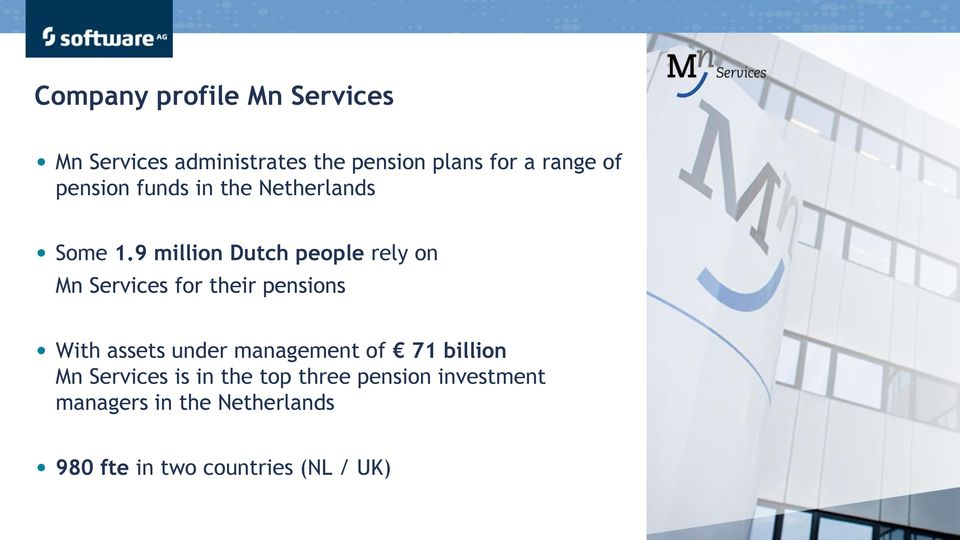 9 million Dutch people rely on Mn Services for their pensions With assets under management of