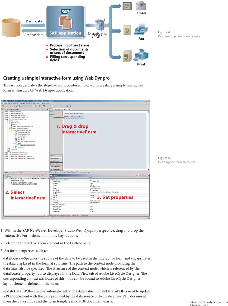 Dynpro application. Figure 5. Defining the form elements 1. Within the SAP NetWeaver Developer Studio Web Dynpro perspective, drag and drop the Interactive Form element onto the Layout pane. 2.