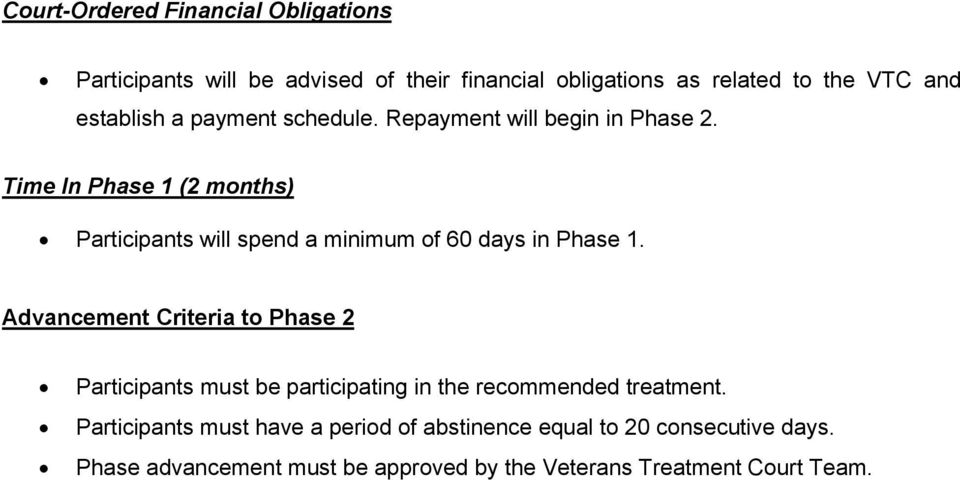 Time In Phase 1 (2 months) Participants will spend a minimum of 60 days in Phase 1.
