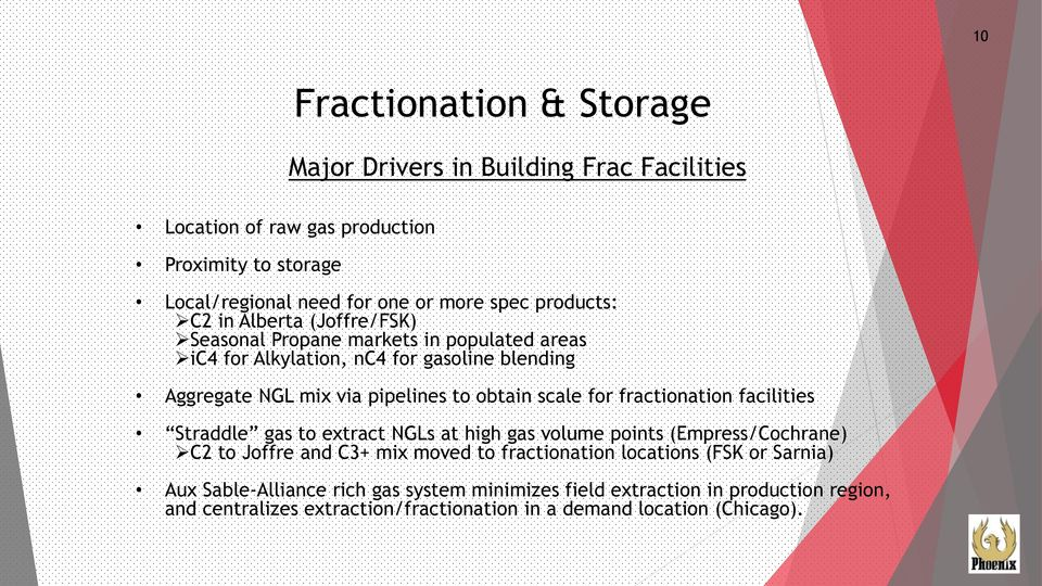 obtain scale for fractionation facilities Straddle gas to extract NGLs at high gas volume points (Empress/Cochrane) C2 to Joffre and C3+ mix moved to fractionation