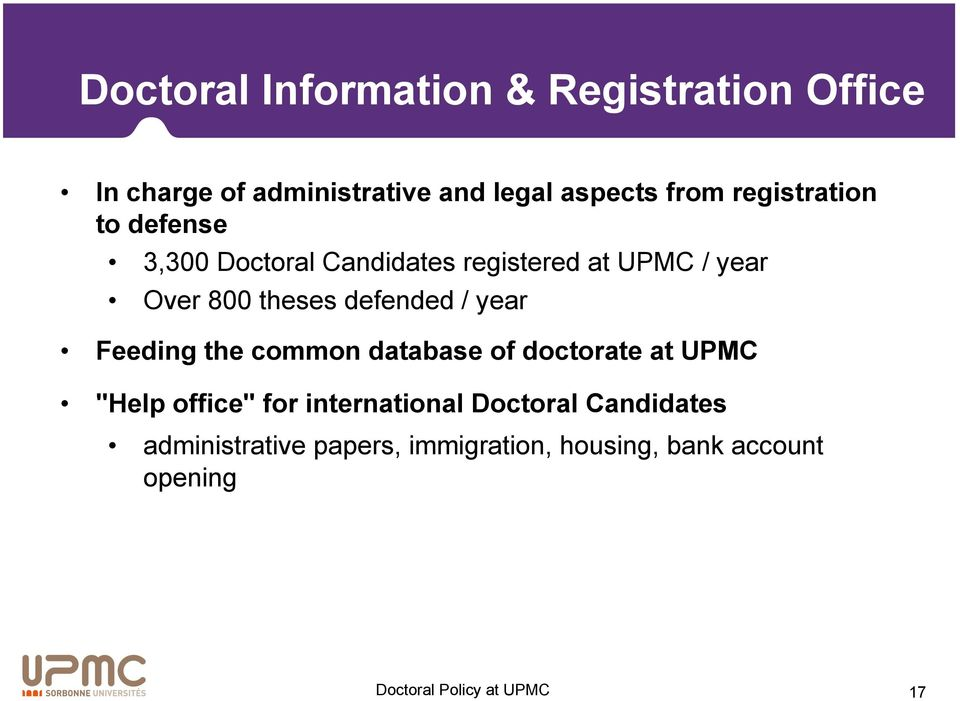 "theses defended / year Feeding the common database of doctorate at UPMC ""Help office"" for"