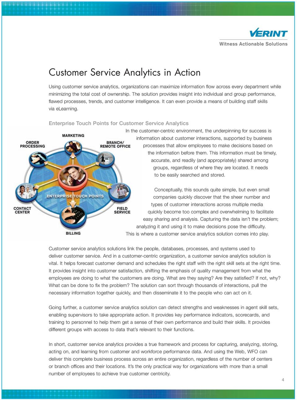 Enterprise Touch Points for Customer Service Analytics In the customer-centric environment, the underpinning for success is information about customer interactions, supported by business processes