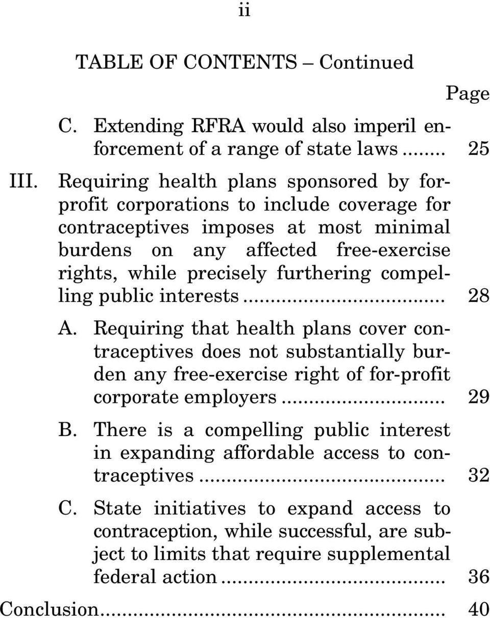 furthering compelling public interests... 28 A. Requiring that health plans cover contraceptives does not substantially burden any free-exercise right of for-profit corporate employers.