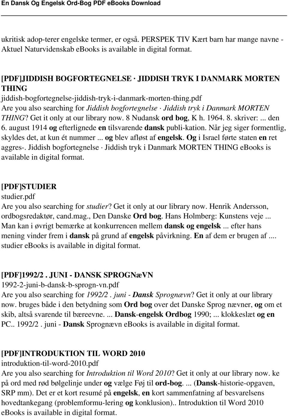 2f30b53e5a1c pdf Are you also searching for Jiddish bogfortegnelse Jiddish tryk i  Danmark MORTEN THING  Get
