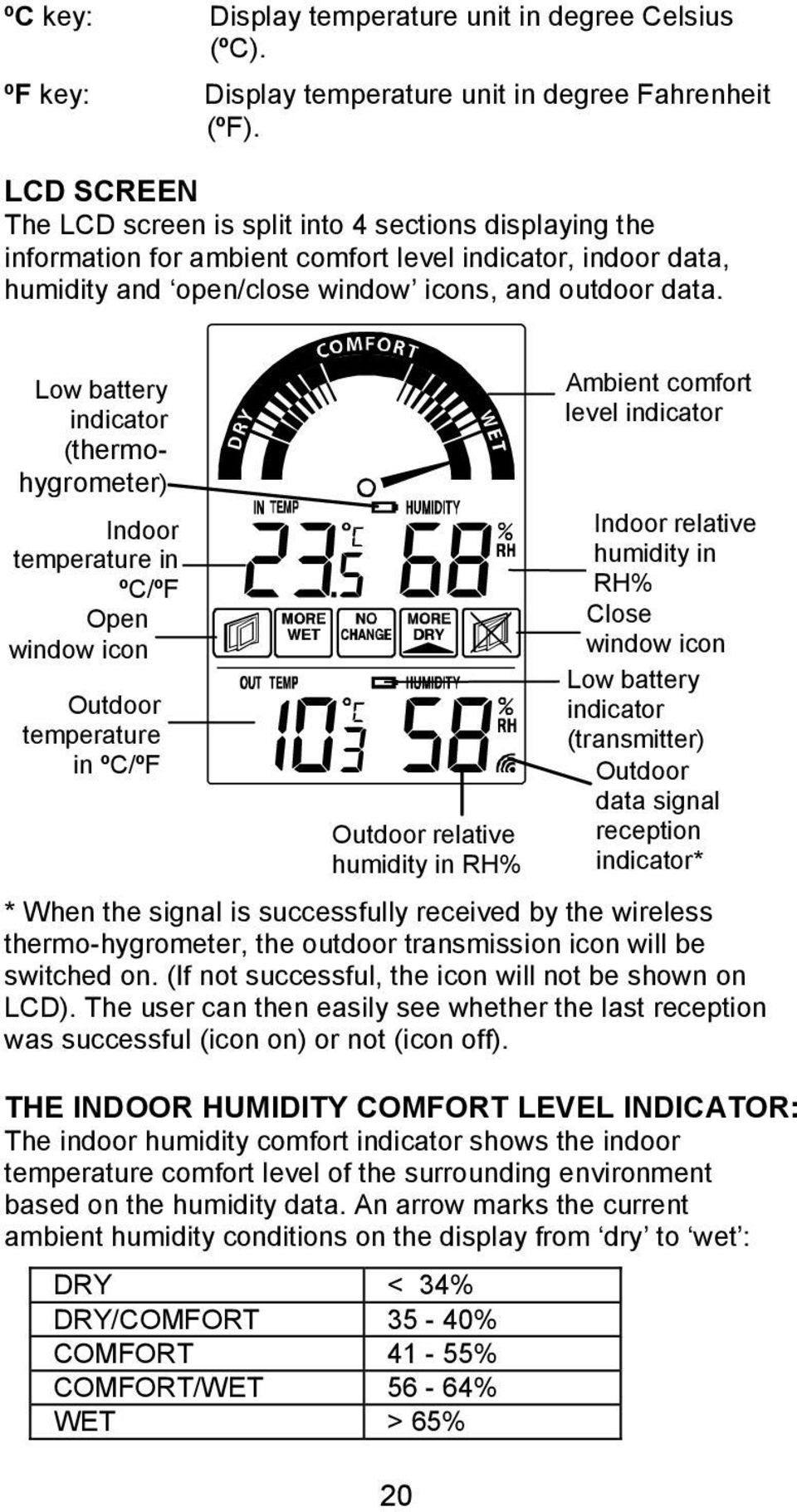 Low battery indicator (thermohygrometer) Indoor temperature in ºC/ºF Open window icon Outdoor temperature in ºC/ºF Outdoor relative humidity in RH% * When the signal is successfully received by the