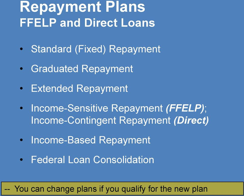 (FFELP); Income-Contingent Repayment (Direct) Income-Based Repayment