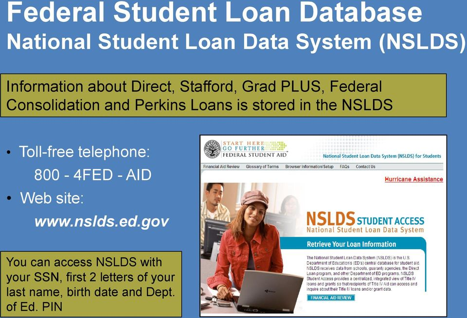 in the NSLDS Toll-free telephone: 800-4FED - AID Web site: www.nslds.ed.