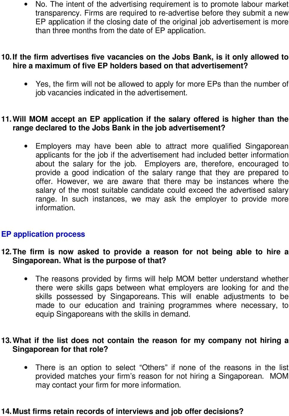 If the firm advertises five vacancies on the Jobs Bank, is it only allowed to hire a maximum of five EP holders based on that advertisement?