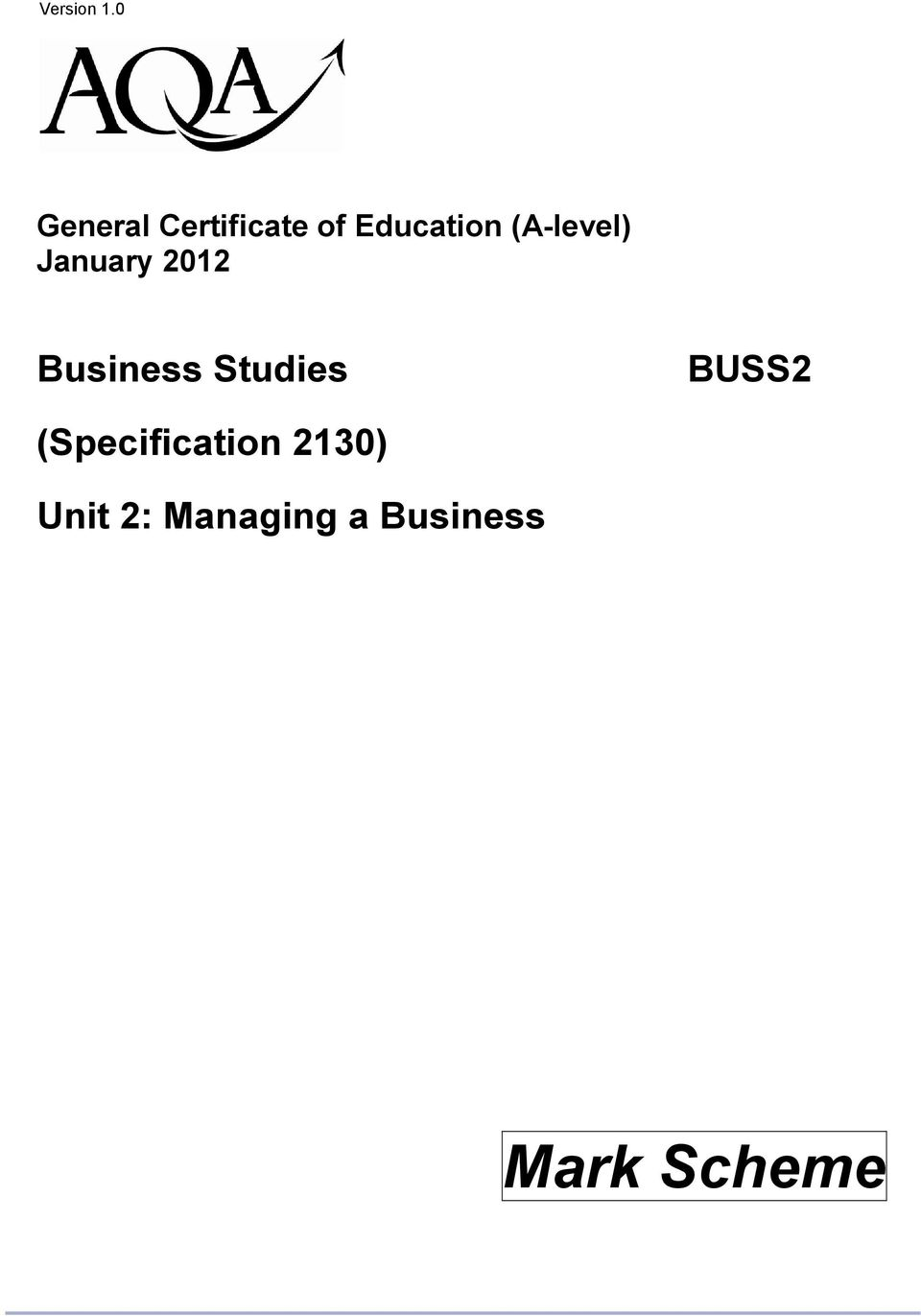 (A-level) January 2012 Business
