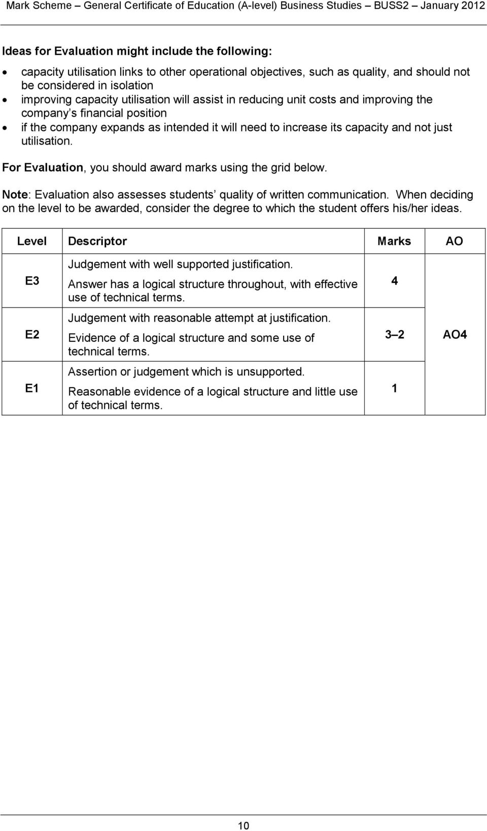 F Evaluation, you should award marks using the grid below. Note: Evaluation also assesses students quality of written communication.