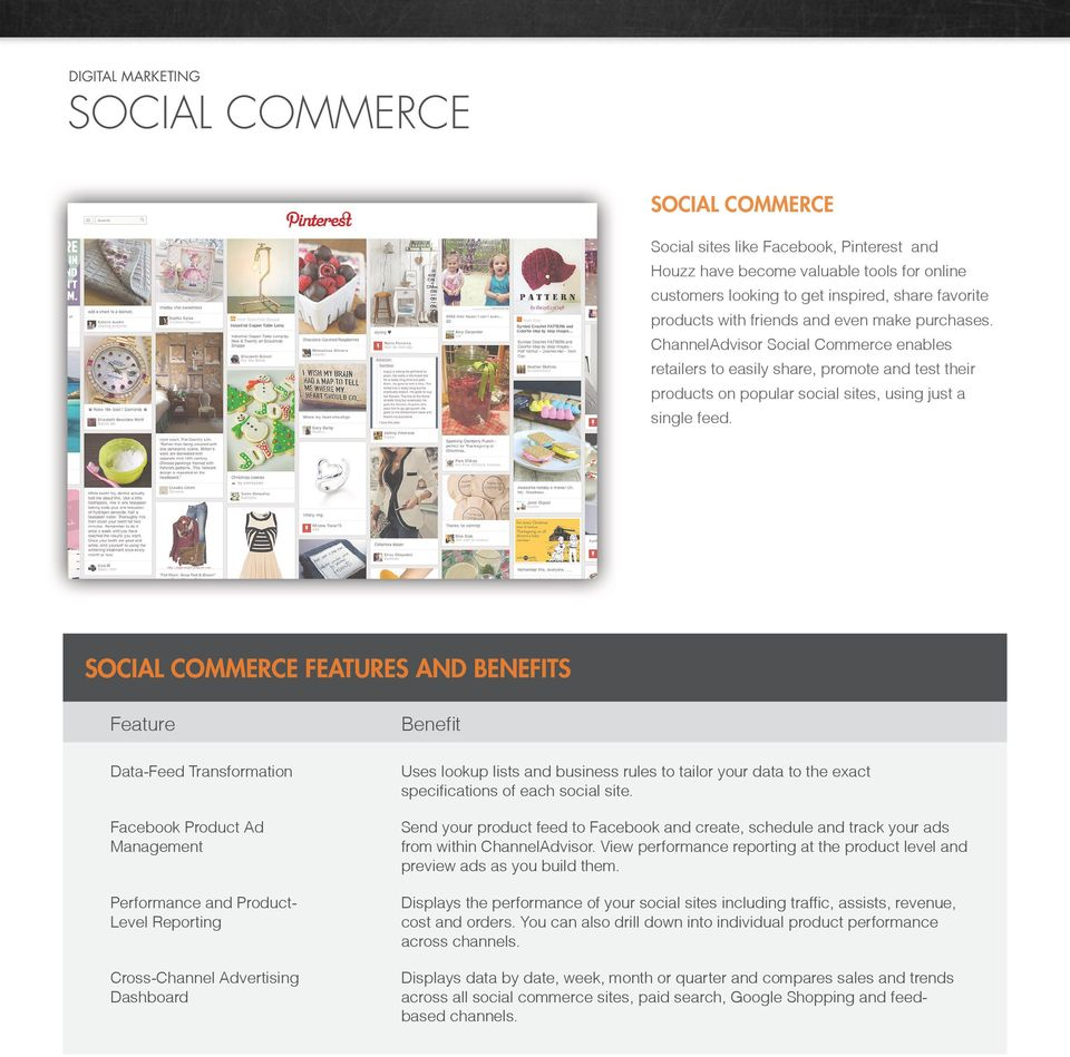 SOCIAL COMMERCE FEATURES AND BENEFITS Data-Feed Transformation Facebook Product Ad Management Performance and Product- Level Reporting Uses lookup lists and business rules to tailor your data to the