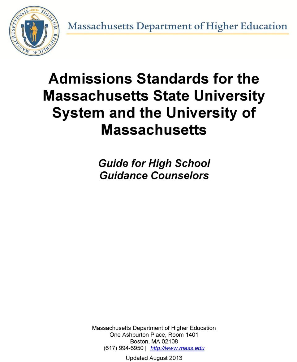 Counselors Massachusetts Department of Higher Education One Ashburton