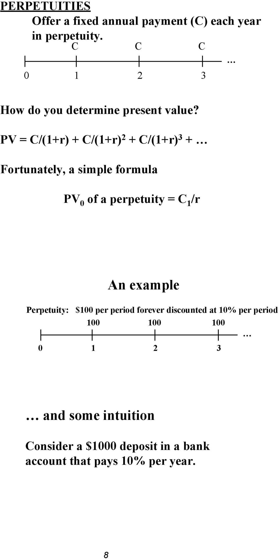 PV = C/(1+r) + C/(1+r) 2 + C/(1+r) 3 + Fortunately, a simple formula PV 0 of a perpetuity = C 1 /r
