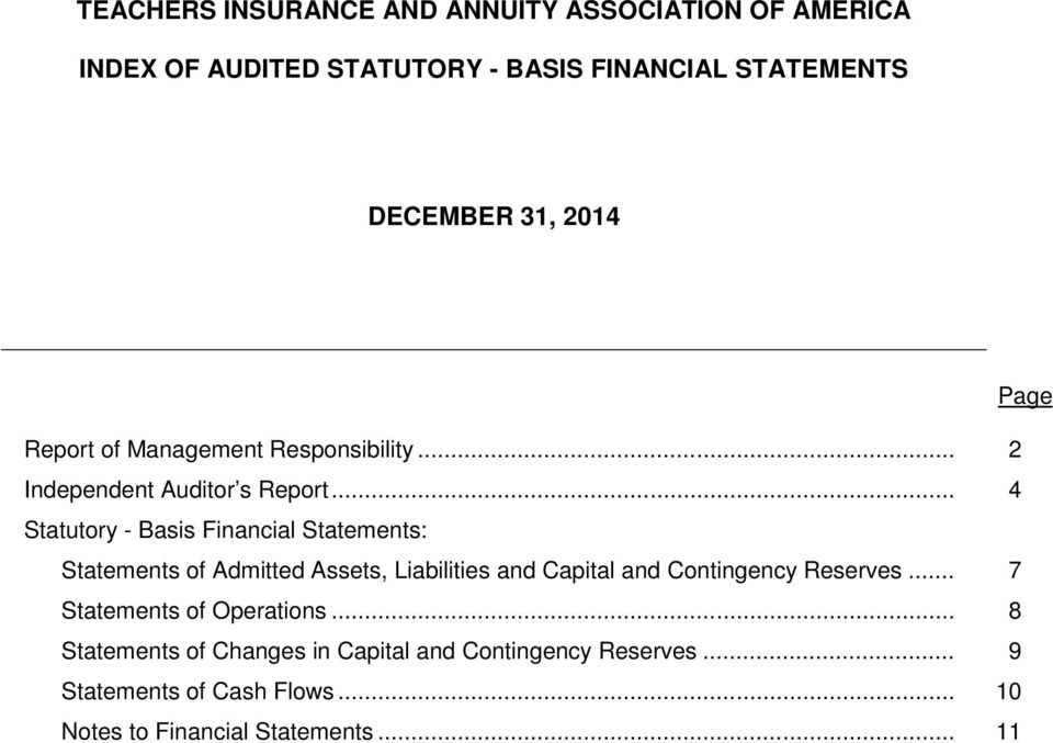 .. 4 Statutory - Basis Financial Statements: Statements of Admitted Assets, Liabilities and Capital and