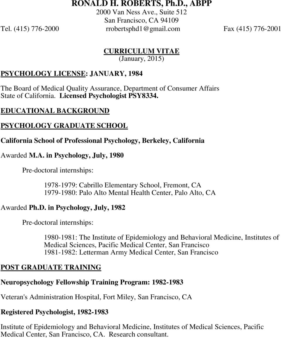 Licensed Psychologist PSY8334. EDUCAT