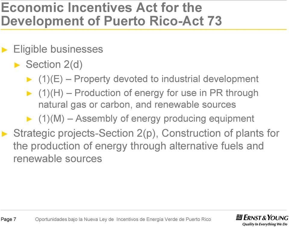 carbon, and renewable sources (1)(M) Assembly of energy producing equipment Strategic projects-section
