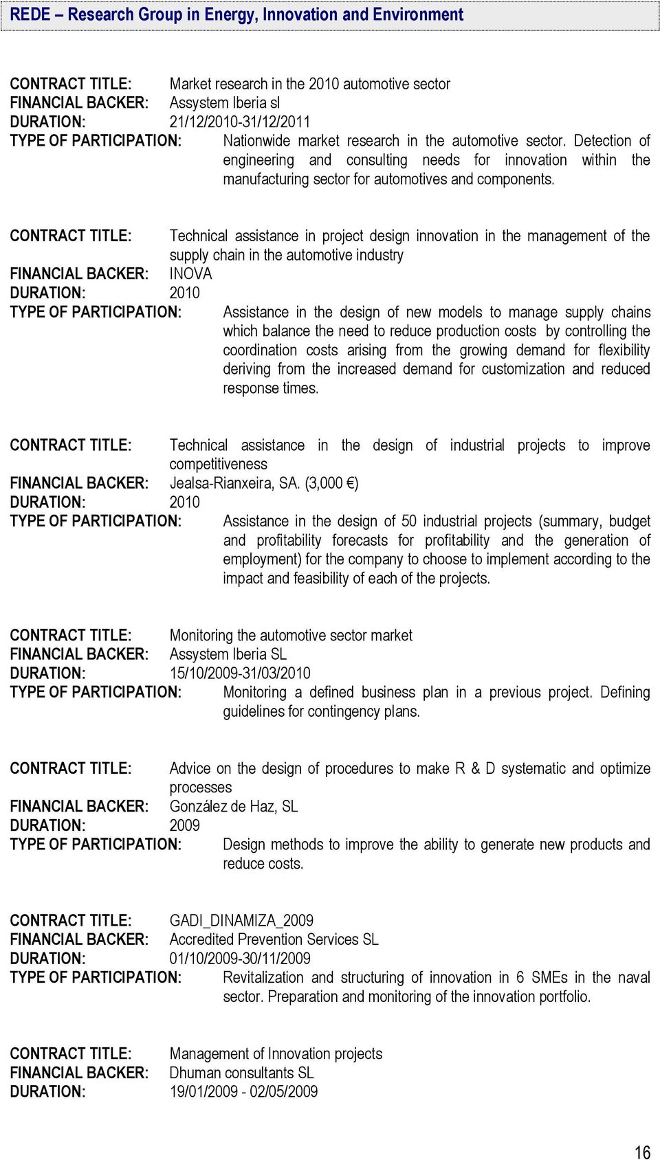 CONTRACT TITLE: FINANCIAL BACKER: DURATION: 2010 TYPE OF PARTICIPATION: Technical assistance in project design innovation in the management of the supply chain in the automotive industry INOVA