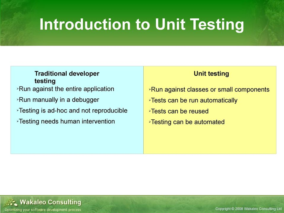 manually in a debugger Testing is ad-hoc and not reproducible Testing needs