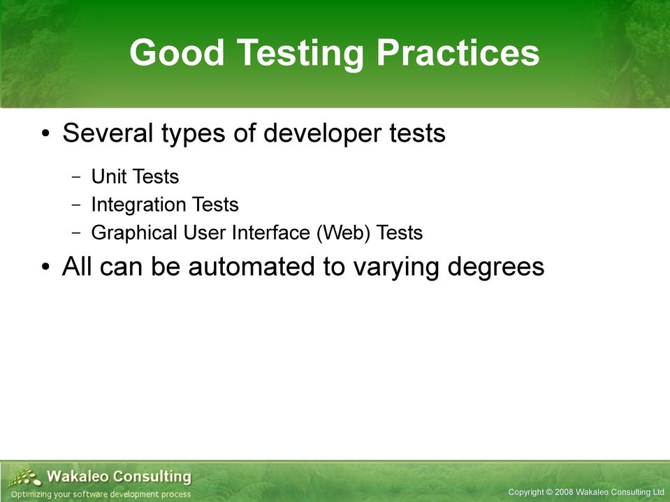 Tests Graphical User Interface (Web)