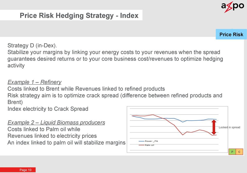 optimize hedging activity rice Risk Example 1 Refinery osts linked to Brent while Revenues linked to refined products Risk strategy aim is to optimize crack