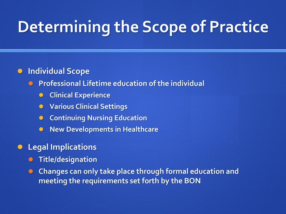 Education New Developments in Healthcare Legal Implications Title/designation Changes