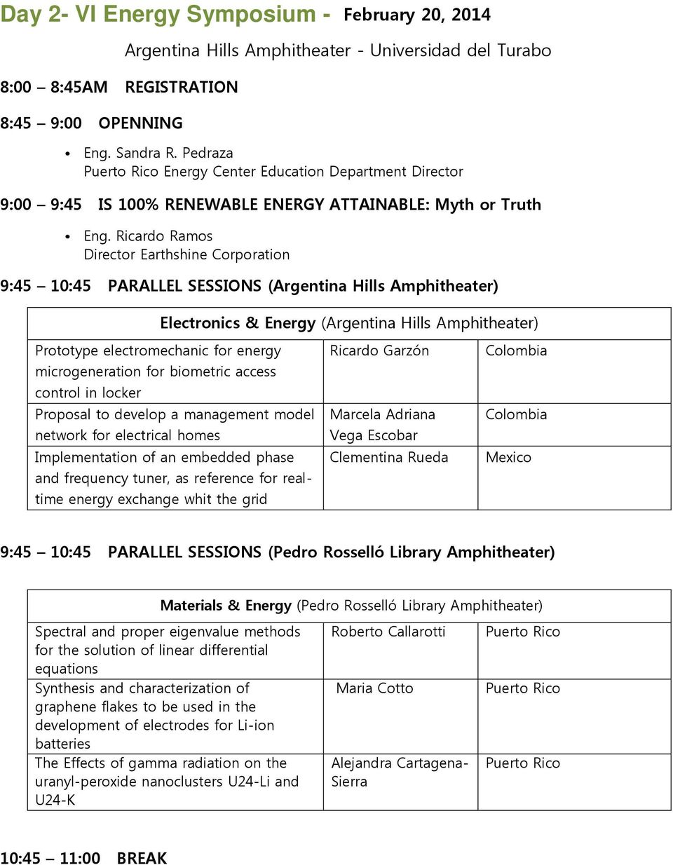 Ricardo Ramos Director Earthshine Corporation 9:45 10:45 PARALLEL SESSIONS (Argentina Hills Amphitheater) Electronics & Energy (Argentina Hills Amphitheater) Prototype electromechanic for energy
