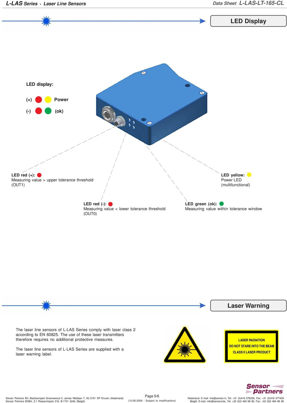 of L-LAS Series comply with laser class 2 according to EN 60825. The use of these laser transmitters therefore requires no additional protective measures.
