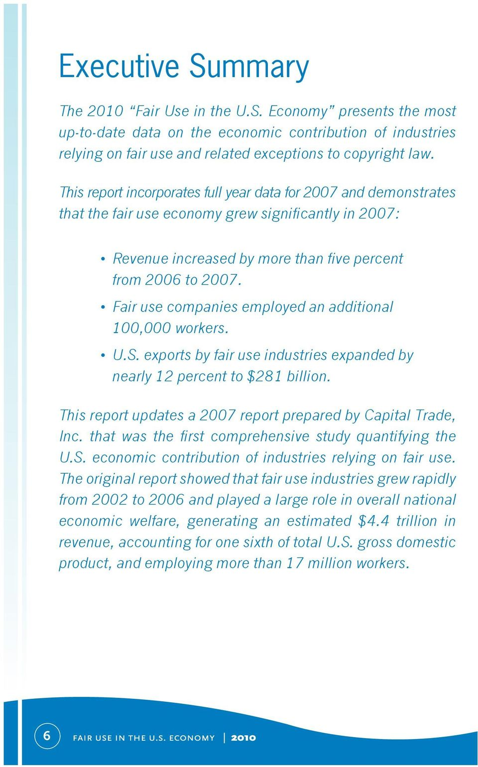 Fair use companies employed an additional 100,000 workers. U.S. exports by fair use industries expanded by nearly 12 percent to $281 billion.