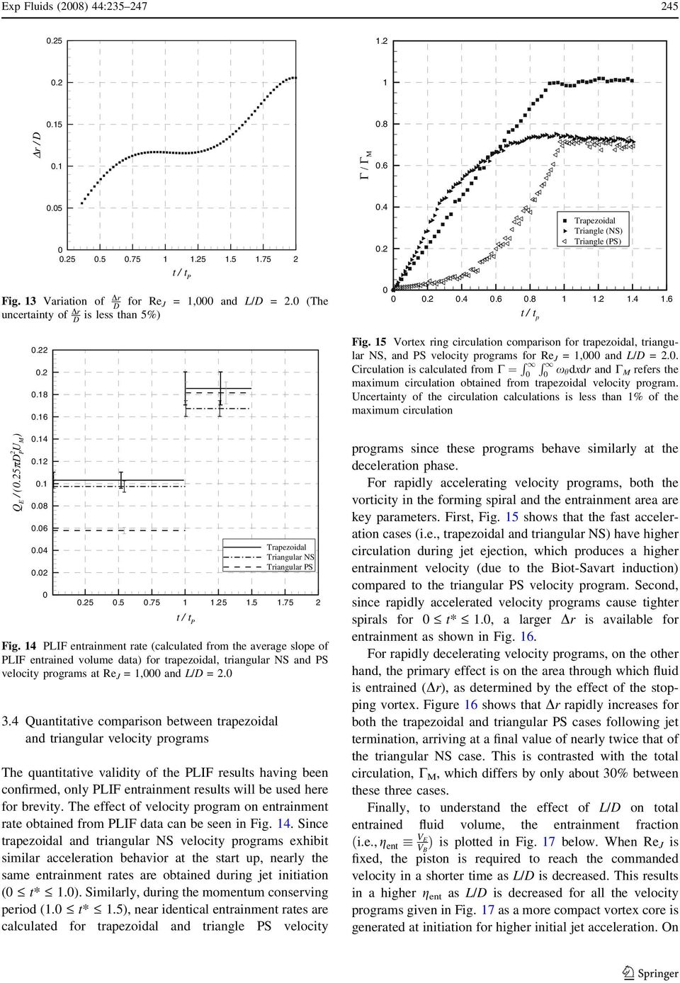 4 Quantitative comparison between trapezoidal and triangular velocity programs Trapezoidal Triangular NS Triangular PS Fig.