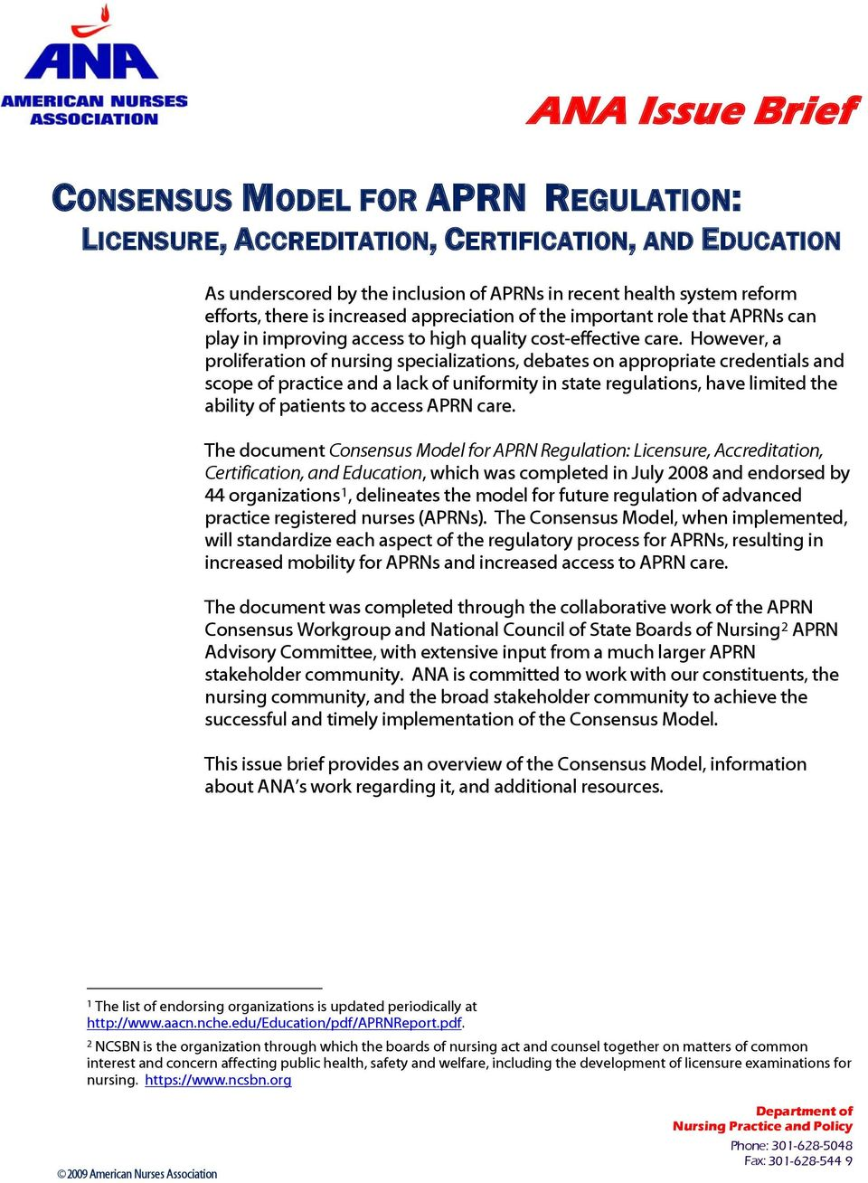 This Issue Brief Provides An Overview Of The Consensus Model